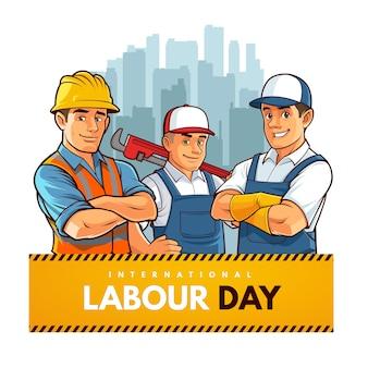 Caricatura do dia internacional do trabalho
