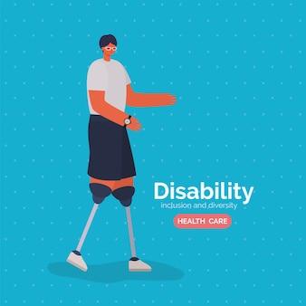 Caricatura do homem com deficiência com prótese de perna do tema diversidade da inclusão e cuidados de saúde.
