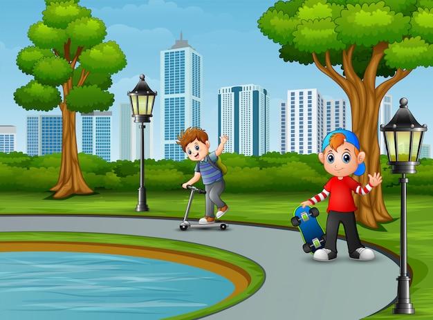 Caricatura, dois menino, tocando, cidade