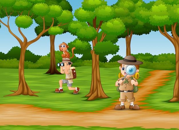 Caricatura, dois, zookeeper, em, a, selva