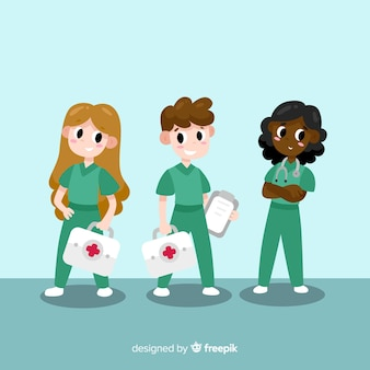 Caricatura, enfermeira, equipe, fundo