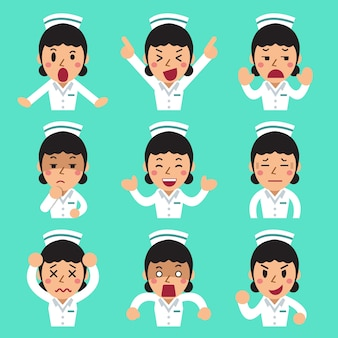 Caricatura enfermeira feminina enfrenta mostrando diferentes emoções