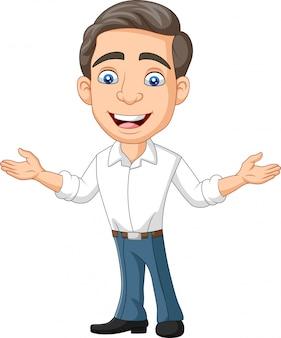 Caricatura, feliz, jovem, homem negócios, e, apresentando