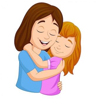 Caricatura, feliz, mãe, abraçar, dela, filha