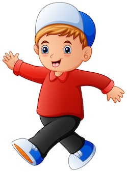 Caricatura, feliz, menino, andar