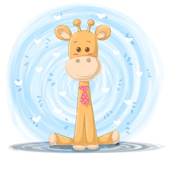Caricatura, girafa, ilustração