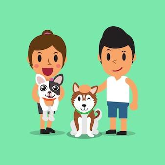 Caricatura, homem mulher, com, cachorros