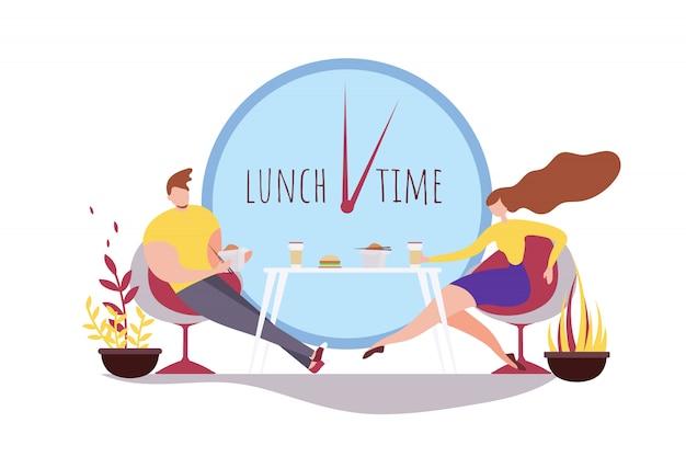 Caricatura, homem mulher, comer, junto, hora almoço, café