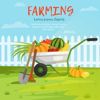 Caricatura, ilustração, de, carrinho de mão, com, legumes