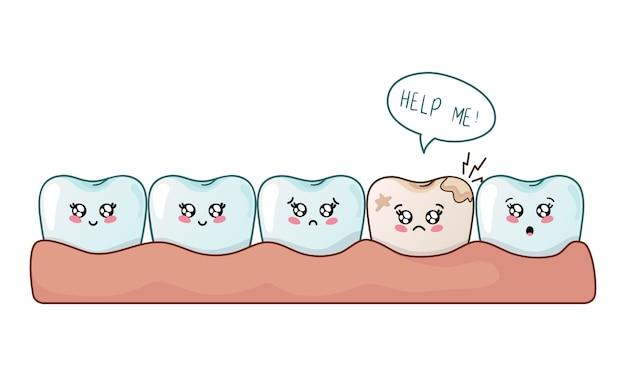 Caricatura, kawaii, dente, cute, personagem
