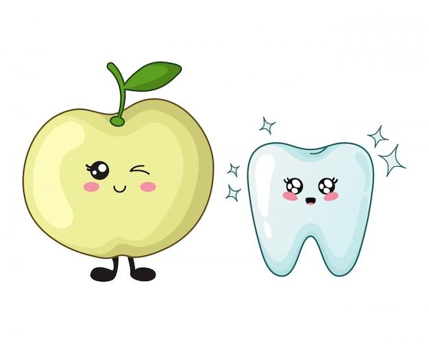 Caricatura, kawaii, dente, e, maçã, cute, personagem