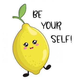 Caricatura, kawaii, personagem, de, limão