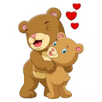 Caricatura, mãe, e, bebê, urso marrom
