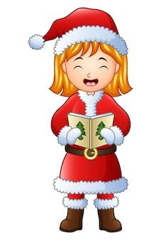 Caricatura, menina, cantando, natal, carols, isolado