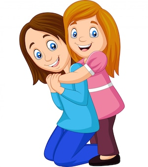 Caricatura, menina feliz, abraçando, dela, mãe