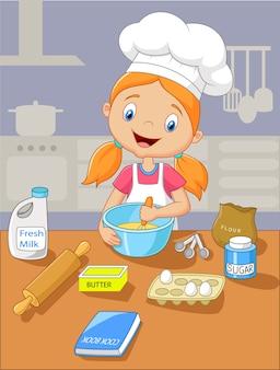 Caricatura, menininha, segurando, massa, bolo