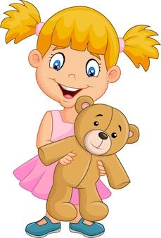 Caricatura, menininha, tocando, com, urso teddy