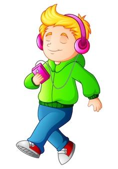 Caricatura, menino, andar, e, escutar, jogador música