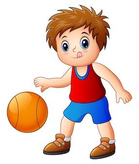 Caricatura, menino, basquetebol jogando