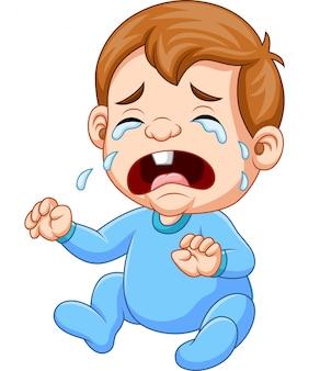 Caricatura, menino bebê, chorando