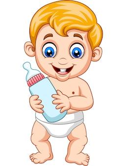 Caricatura, menino bebê, segurando, garrafa, leite