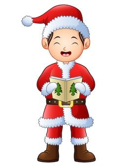 Caricatura, menino, cantando, natal, carols, isolado