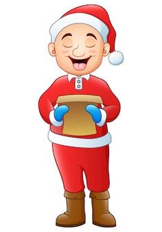 Caricatura, menino, cantando, natal, carols