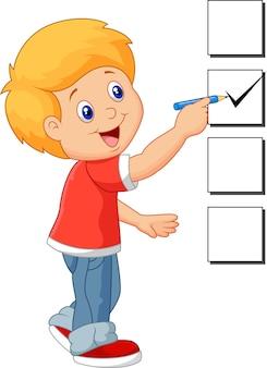 Caricatura, menino, com, lista de verificação