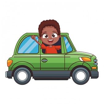 Caricatura, menino, drivingcar