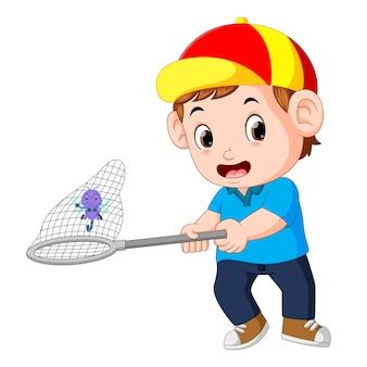 Caricatura, menino, é, pegando, libélula