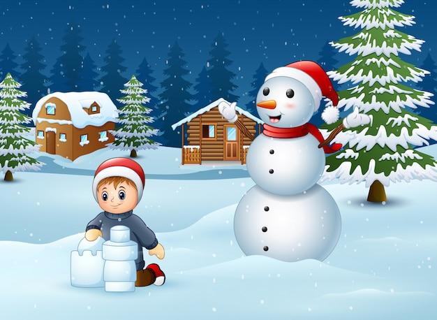 Caricatura, menino, fazer, neve, predios