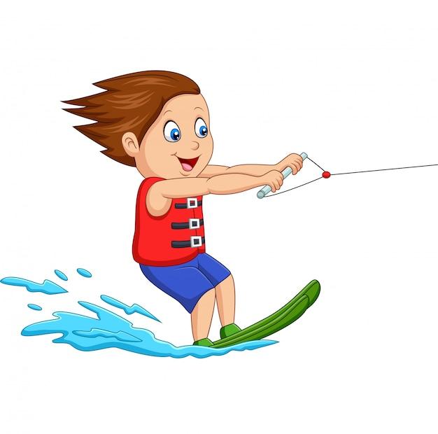 Caricatura, menino, jogando água, esqui