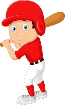 Caricatura, menino, jogando basebol