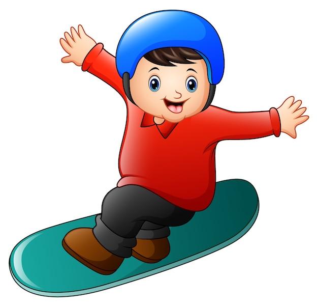 Caricatura, menino, jogando snowboard
