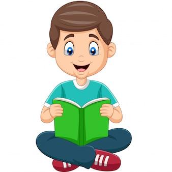 Caricatura, menino, lendo um livro