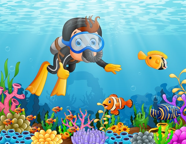 Caricatura, menino, mergulhar, mar