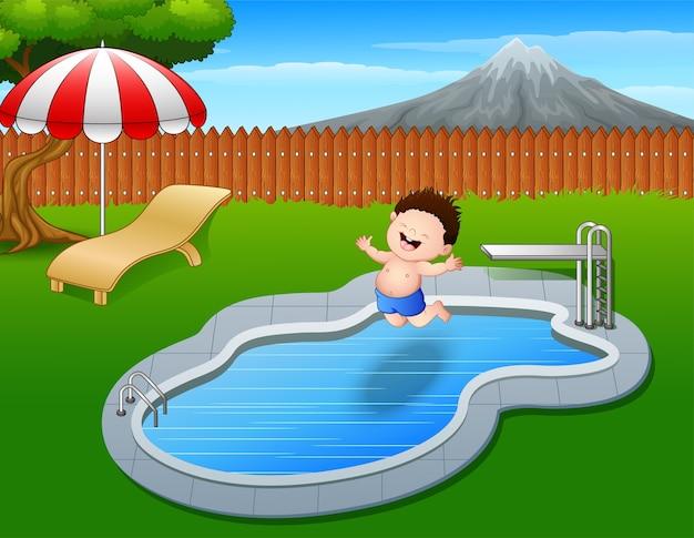 Caricatura, menino, pular, em, piscina