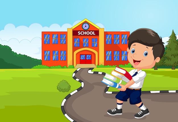 Caricatura, menino, segurando, um, pilha livros