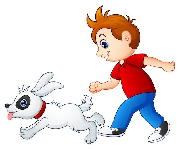 Caricatura, menino, tocando, com, seu, animal estimação