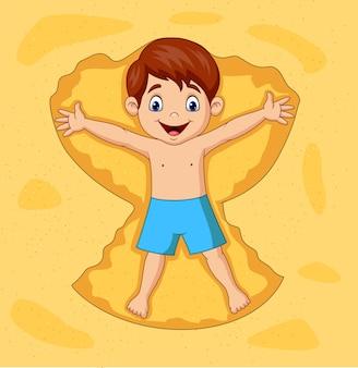 Caricatura, menino, tocando, ligado, areias