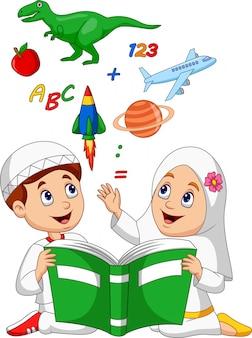 Caricatura, muçulmano, crianças, leitura, livro, educação, conceito