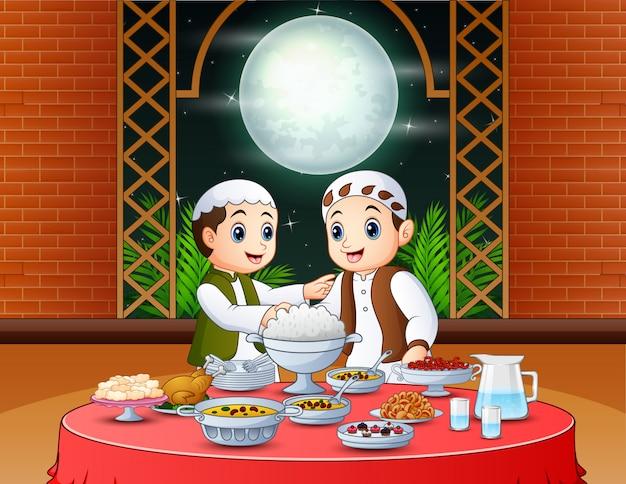 Caricatura, muçulmano, pessoas, esperando, para, iftar, partido