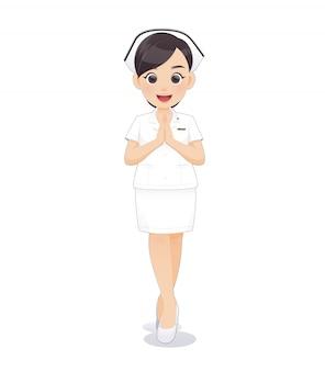 Caricatura, mulher, doutor enfermeira, em, uniforme branco, prendendo uma prancheta,