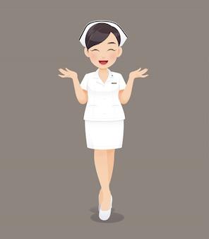 Caricatura, mulher, doutor, ou, enfermeira, em, uniforme branco, sorrindo, femininas, equipe enferma