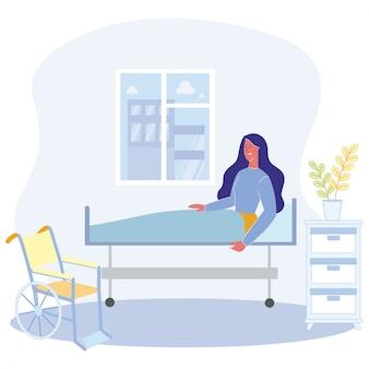 Caricatura, mulher, sente cama, fisicamente, incapacitado, pessoa