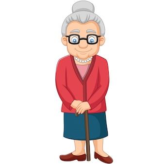 Caricatura, mulher velha, com, um, cana