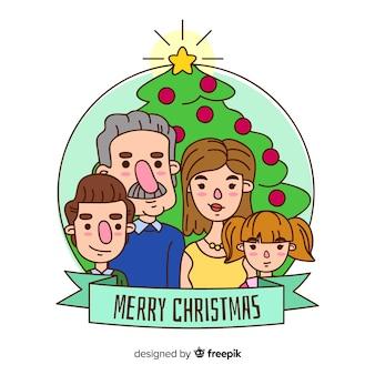 Caricatura, natal família, retrato