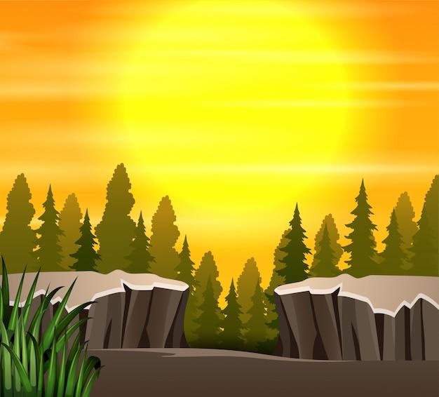Caricatura, natureza, pôr do sol, cena, fundo