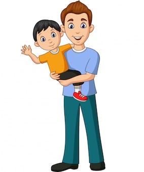 Caricatura, pai, carregar, um, filho, em, seu, braços