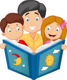 Caricatura, pai, leitura, com, seu, crianças